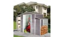 Domek metalowy Premium Quentin z przybudówką i drewutnią