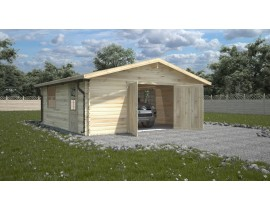 Garaż drewniany 600x600 z bramą po środku